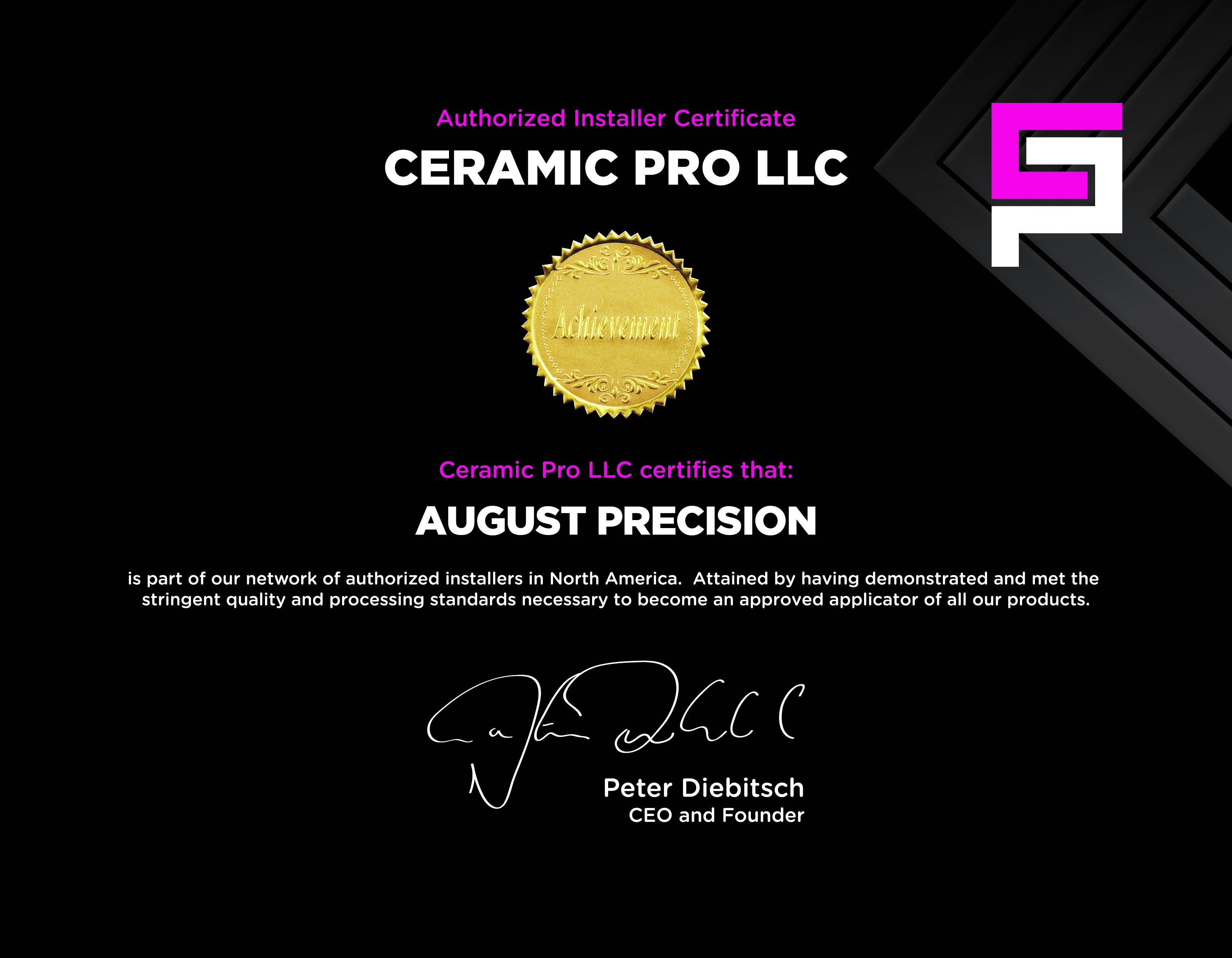August Precision Ceramic Pro Certification Document Image